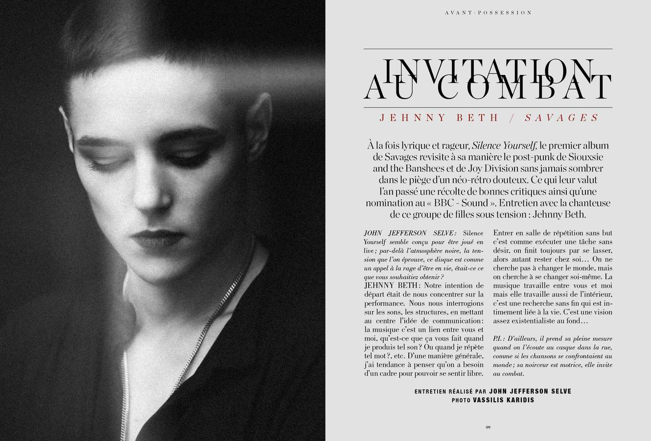 Interview de Jehnny Beth, Savages, Invitation au combat, photographie de Vassilis Karidis