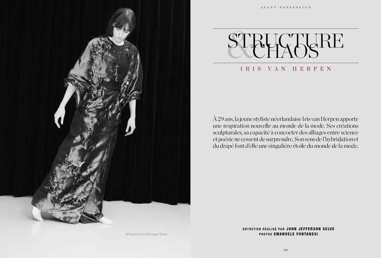Mode : interview d'Iris van Herpen : Structures & chaos, photographies d'Emanuele Fontanesi