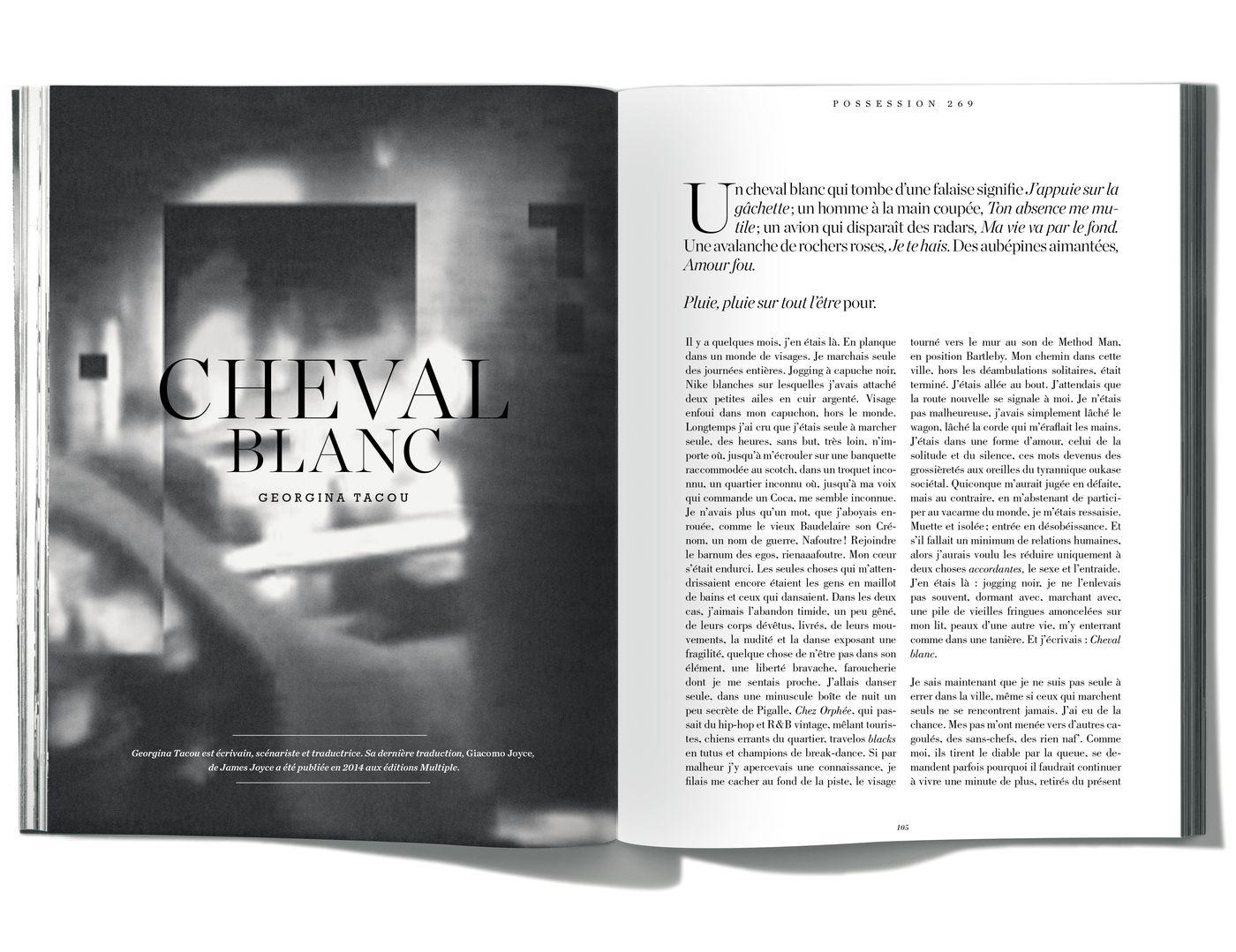 Texte de Georgina Tacou, Cheval blanc