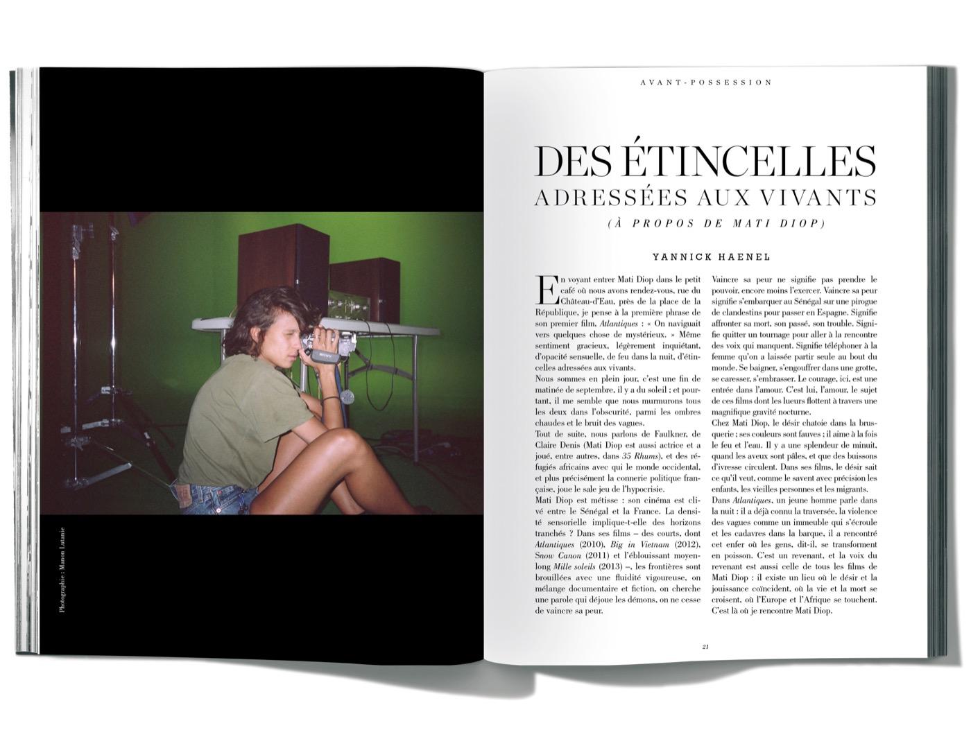 Texte de Yannick Haenel, Des étincelles adressées aux vivants (à propos de Mati Diop)