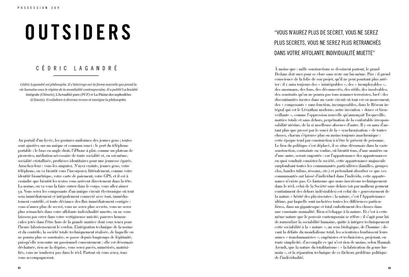 Possession Immédiate Volume 5 - Texte de Cédric Lagandré, Outsiders