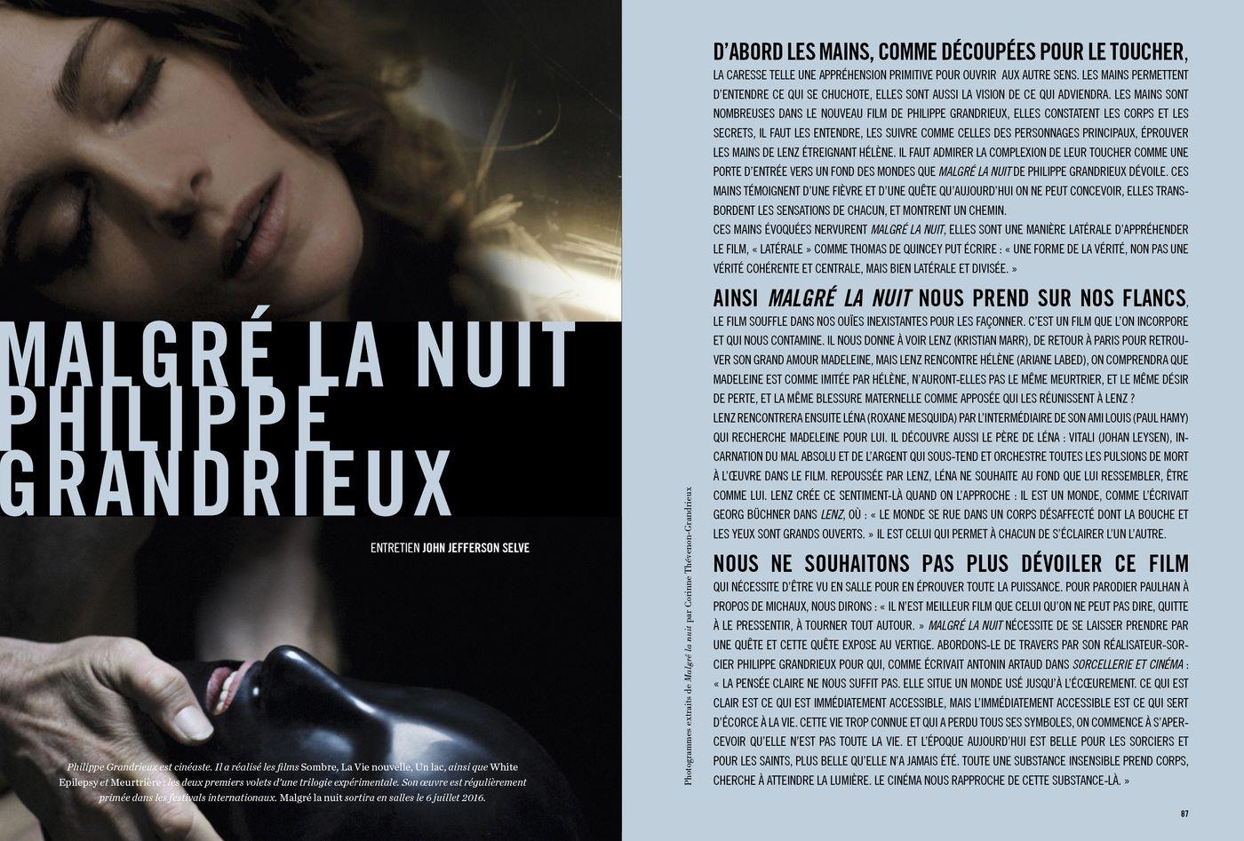 Possession Immédiate Volume 5 - Entretien de John Jefferson Selve avec Philippe Grandrieux, Malgré la nuit