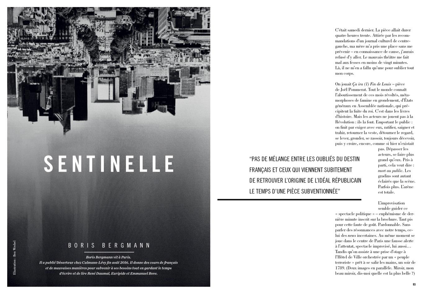 Texte de Boris Bergmann, Sentinelle