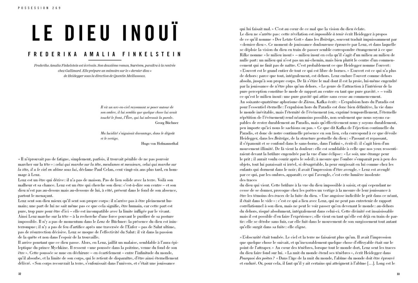 Texte de Frederika Amalia Finkelstein, Le Dieu inouï