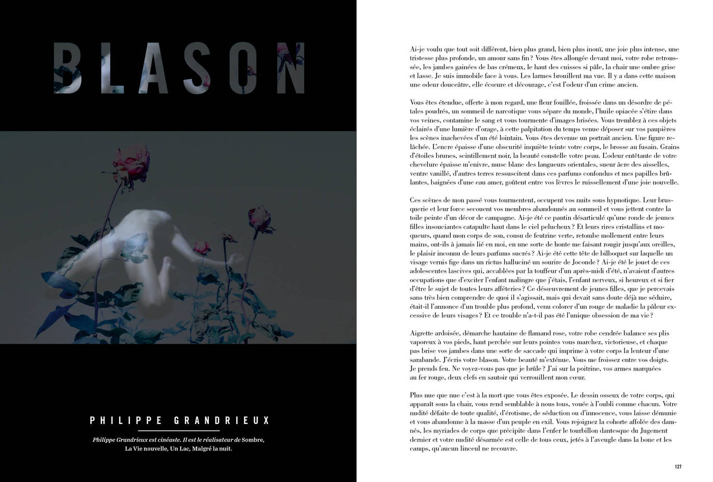 Texte et photographies de Philippe Grandrieux, Blason