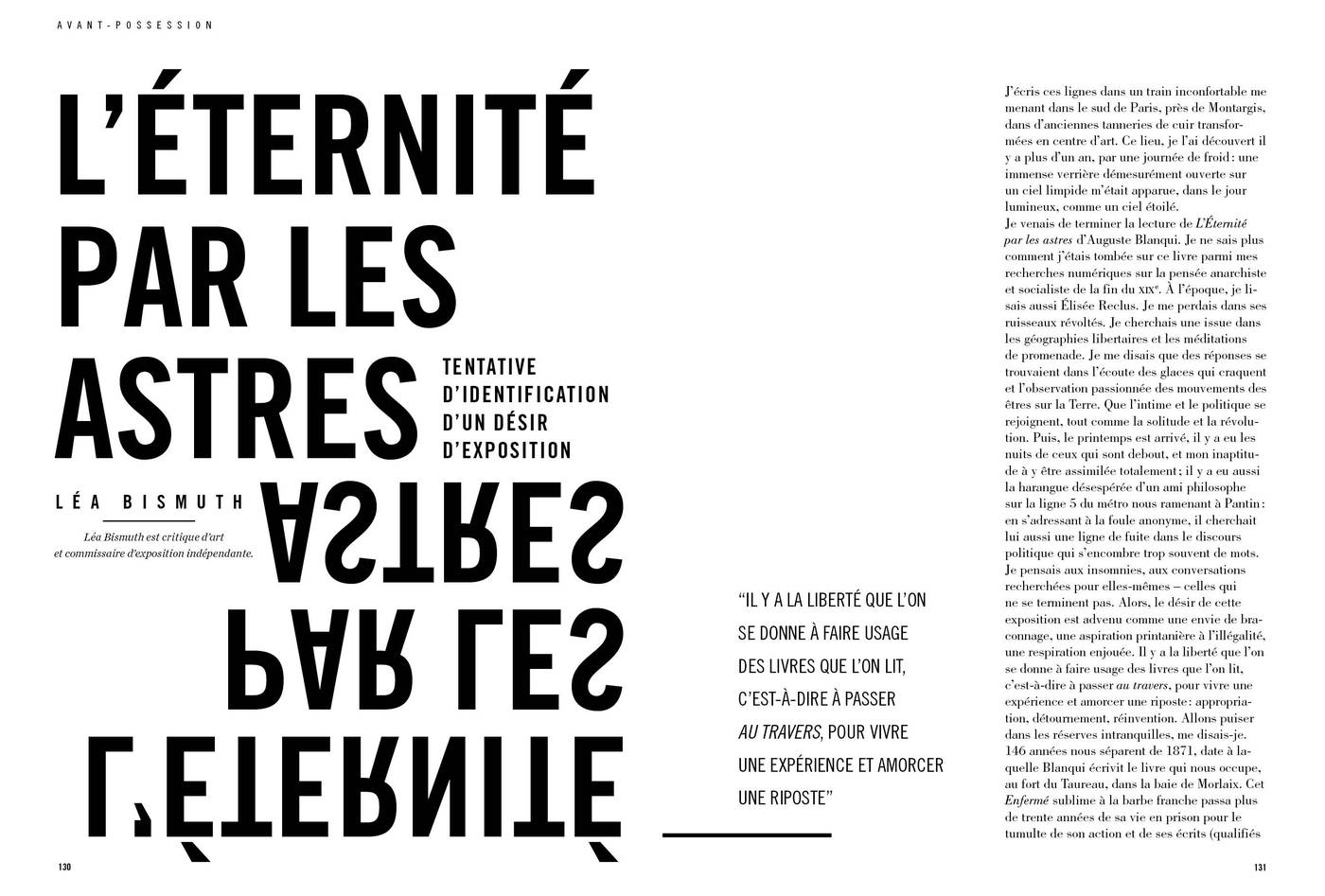Texte de Léa Bismuth, L'éternité par les astres