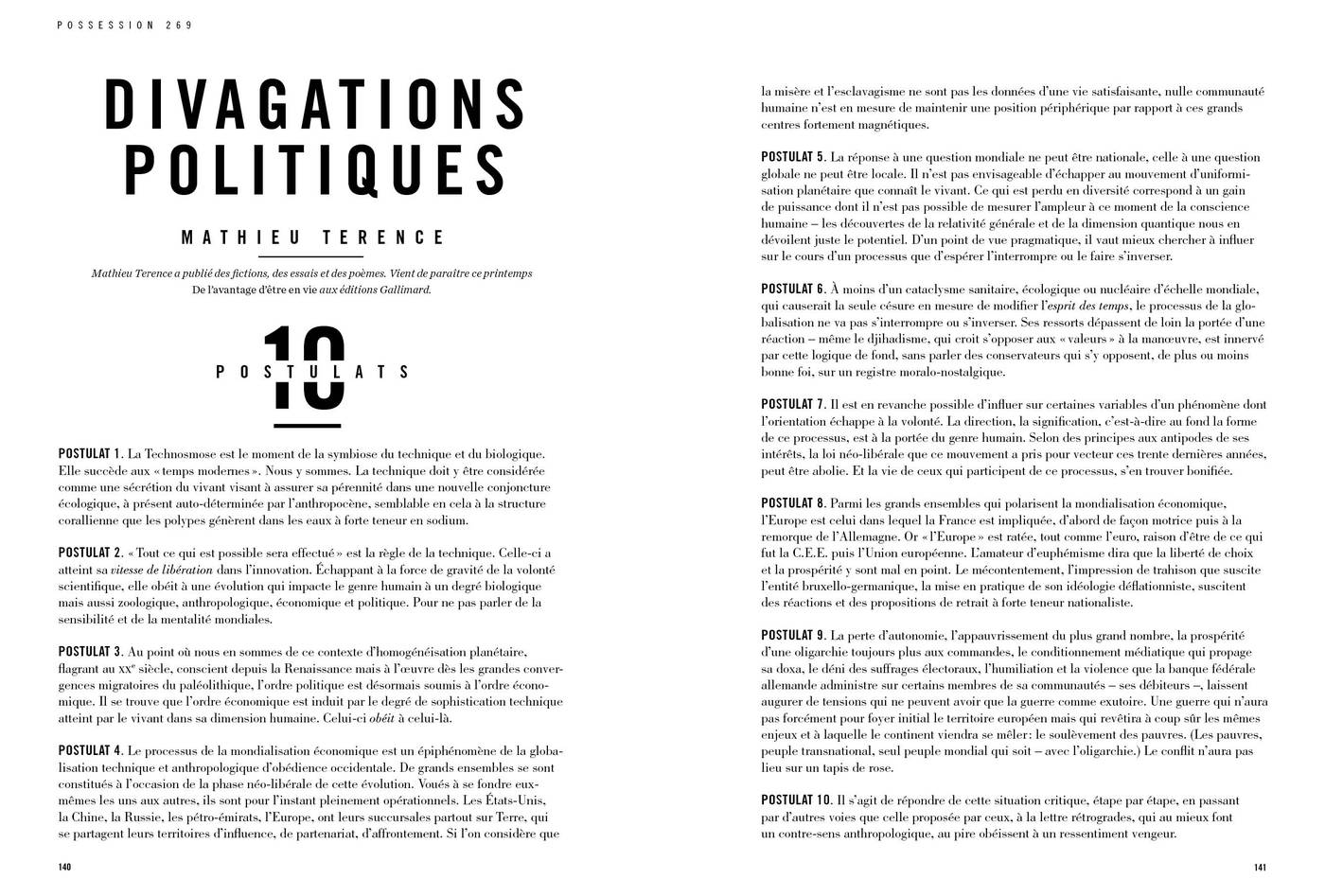 Texte de Mathieu Terence, Divagations politiques