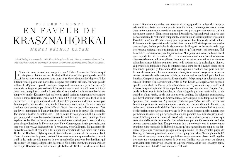 Texte de Mehdi Belhaj Kacem, Chuchotement en faveur de Krasznahorkai