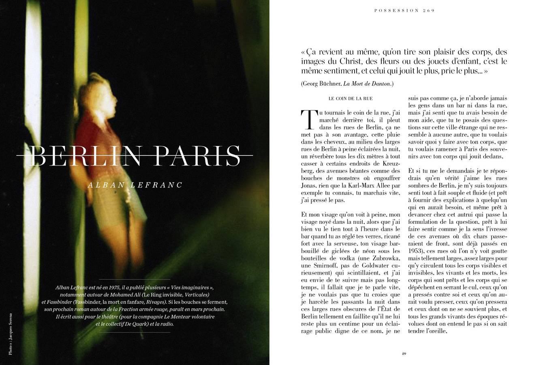 Texte d'Alban Lefranc, Berlin Paris