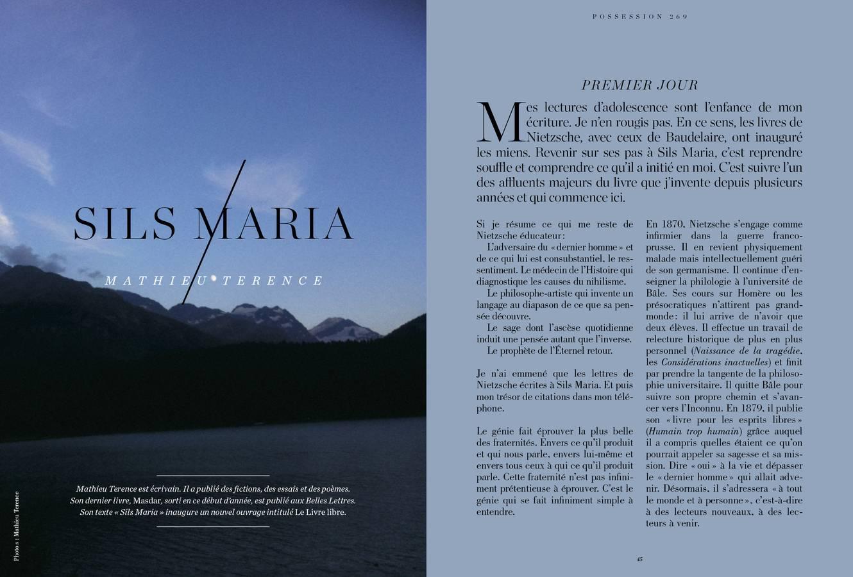 Texte de Mathieu Terence, Sils Maria