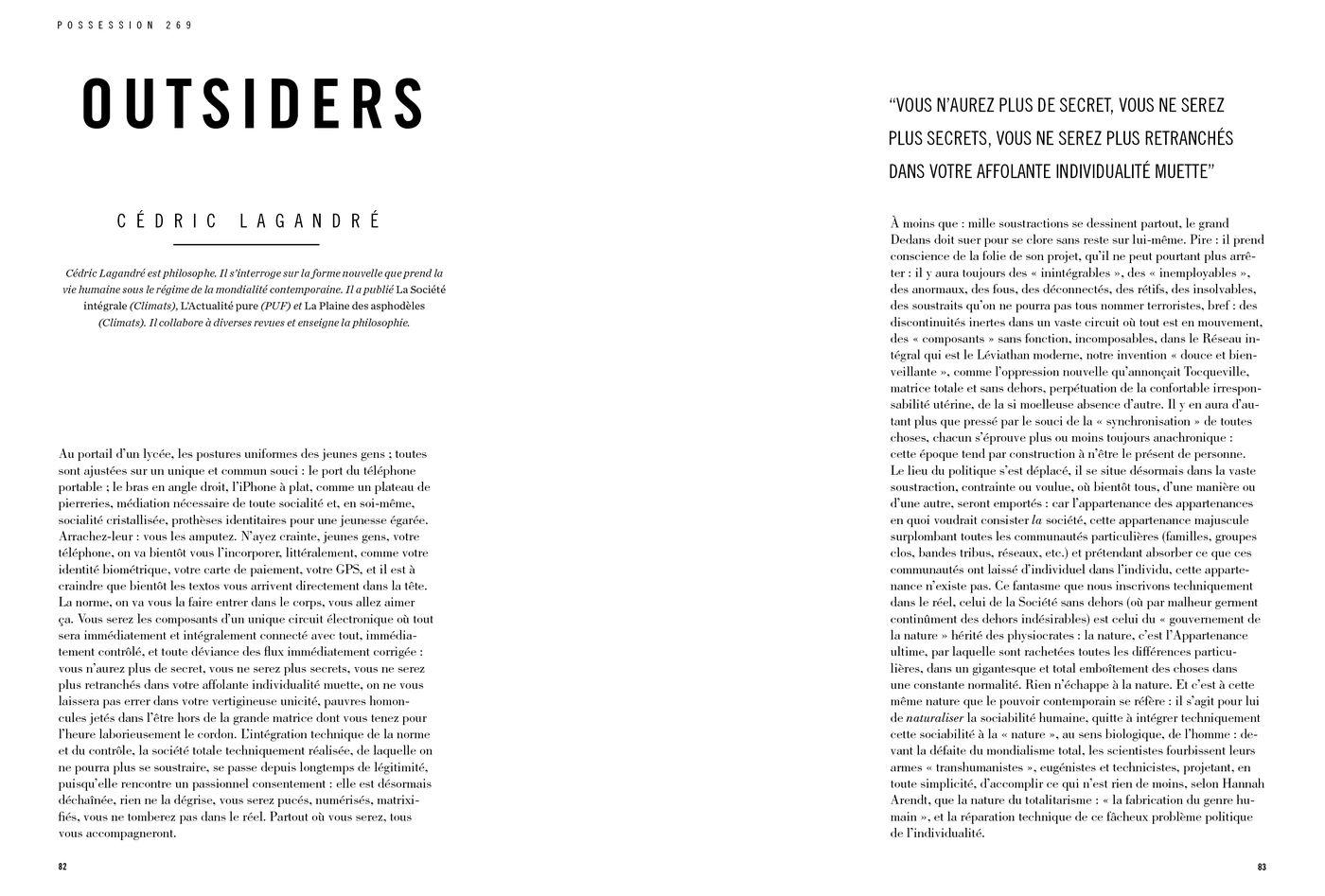 Possession Immédiate Volume 5 - Texte de Cédric Lagandré, Outsiders